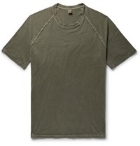 Aspesi Slim Fit Washed Cotton Jersey T Shirt Army Green