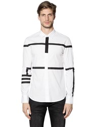 Bikkembergs Striped Stretch Cotton Poplin Shirt