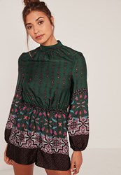 Missguided Green High Neck Silky Scarf Print Playsuit
