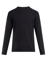 Vince Long Sleeved Cotton And Cashmere Blend Sweater Dark Blue