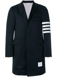 Thom Browne Unconstructed 4 Bar Stripe Classic Chesterfield Overcoat Blue