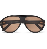Tom Ford Private Collection Aviator Style Horn Sunglasses Black