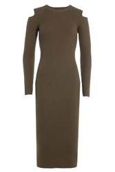 Theory Wool Dress With Cut Out Shoulders Green