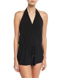 Magicsuit Bianca Halter Sleeveless Coverup Romper Plus Black