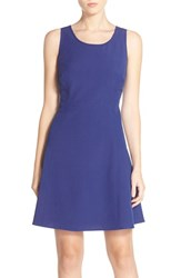 Women's Marc New York Scoop Neck Crepe Fit And Flare Dress Blue Violet