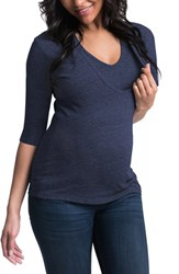 Women's Bun Maternity 'Softie' Three Quarter Sleeve Maternity Nursing Tee Navy