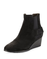 Oddly Suede Wedge Bootie Hammer Black Coclico
