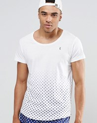 Ringspun Scoop Neck Beach T Shirt With Printed Hem Co Ord White