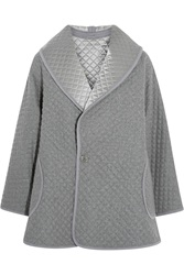 Temperley London Diega Reversible Quilted Silk Wool And Cashmere Blend Coat Gray