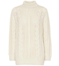 Ryan Roche Cashmere Cable Knit Sweater White
