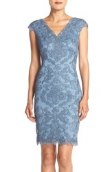 Tadashi Shoji Petite Women's Embroidered Tulle Sheath Dress Steel Blue