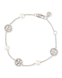 Tory Burch Crystal And Pearly Delicate Logo Bracelet Silver
