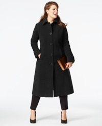 Jones New York Plus Size Wool Maxi Coat Black