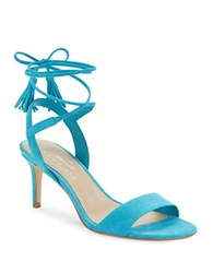 424 Fifth Giovanna Suede Sandals Turquoise