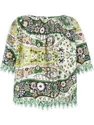 Etro Embroidered Trim Floral Blouse Green