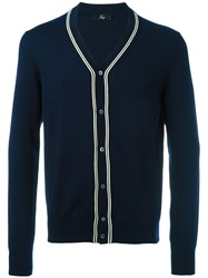 Fay Stripe Detail Buttoned Cardigan Blue