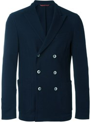Fay Jacquard Effect Double Breasted Blazer Blue