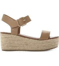 Steve Madden Surfa Espadrilles Platform Sandals Natural Leather