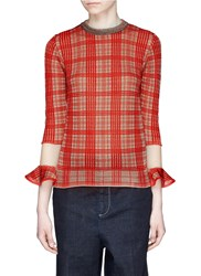 Toga Archives Check Plaid Mesh Cuff Sweater Orange Multi Colour