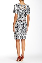Tart Avery Printed And Genuine Leather Belted Dress Black