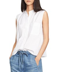 Vince Side Slit Cropped Shell Top White