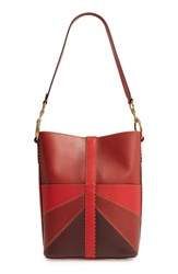 Frye Ilana Colorblock Leather Bucket Hobo Pink Red Clay Multi