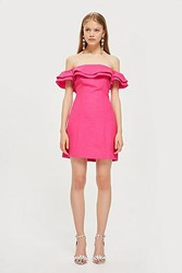 Topshop Ruffle Mini Bardot Dress Pink
