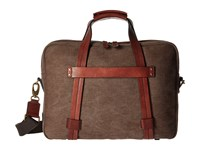 Bosca Washed Leather Collection Zip Top Brief Brown Dark Brown Briefcase Bags