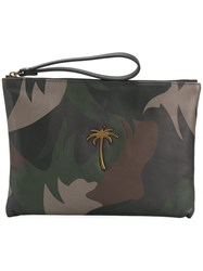 Tomas Maier Camo Palm Pouch Calf Leather Green