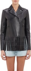 Valentino Fringed And Studded Leather Moto Jacket Black