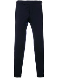 Thom Browne Seamed Elastic Stripe Skinny Wool Trouser Blue