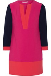Diane Von Furstenberg Millie Color Block Stretch Crepe Mini Dress Pink