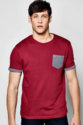 Boohoo Print Pocket T Shirt Burgundy