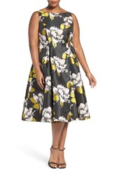 Adrianna Papell Plus Size Women's Floral Tea Length Dress