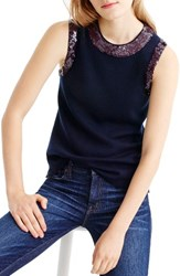 J.Crew Women's Sequin Crewneck Shell Navy
