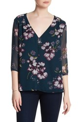 Cupcakes And Cashmere Tibet Floral 3 4 Length Sleeve Blouse Blue