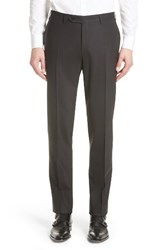 Canali Men's Big And Tall Flat Front Solid Stretch Wool Trousers Black
