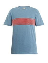 Faherty Surf Striped Cotton T Shirt Blue