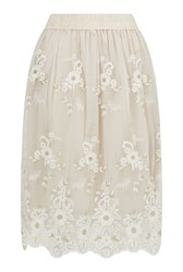 James Lakeland Embroidered Lace Midi Skirt Cream