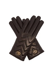 Gucci Gg Marmont Chevron Quilted Leather Gloves Black