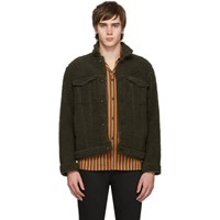 Naked And Famous Denim Green Fleece Jacket