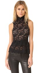 Nightcap X Carisa Rene Peplum Lace Top Black