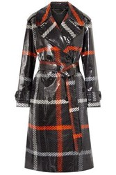 Marc Jacobs Woman Checked Coated Cotton Trench Coat Charcoal