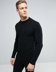 Sisley Crew Neck Knitted Jumper With Block Panel Detail Black 700