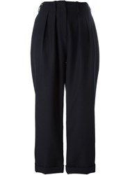 Jay Ahr Cropped Pleated Trousers Blue