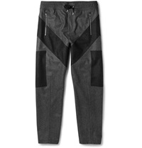 Givenchy Two Tone Wool Flannel Trousers Gray