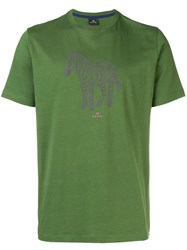 Paul Smith Ps By Zebra Print T Shirt Green