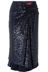Sies Marjan Kayla Draped Sequined Tulle Midi Skirt Midnight Blue