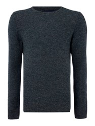 Criminal Men's Robin Textured Crew Neck Pull Over Jumpers Grey