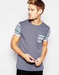Asos T Shirt With Aztec Pocket And Sleeves With Roll Sleeve Blackirismarl